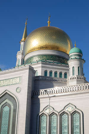 Moscow cathedral mosque main golden dome vertical photo close-up
