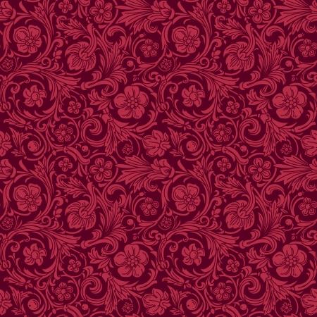 claret red: Modelo de la vendimia cl�sica ornamental incons�til del vector en estilo barroco. Siluetas de flores y hojas estilizadas en color burdeos berry