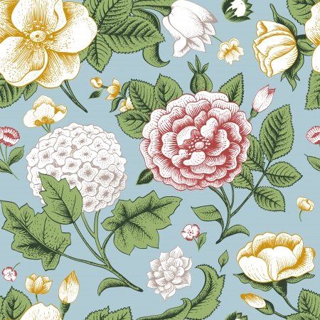 dull: Patr�n sin fisuras con flores de �poca del jard�n de rosas, hortensias y el perro-se levant� flor en un fondo azul Ilustraci�n vectorial