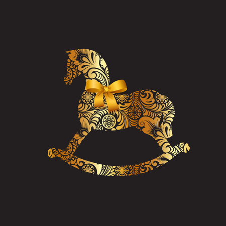 Symbol of 2014. Silhouette of rocking horses with golden frosty winter pattern with snowflakes on a black background, decorated with a gold bow.  Vector