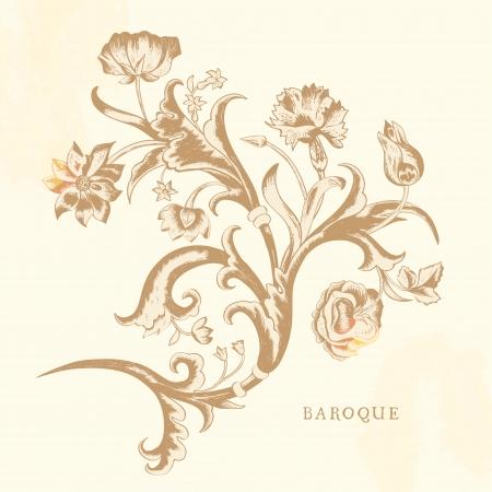 claveles: Vector elemento cl�sico de la vendimia del dise�o en el estilo barroco con diferentes flores. La composici�n de los claveles, las rosas y los tulipanes en un fondo de color beige claro.