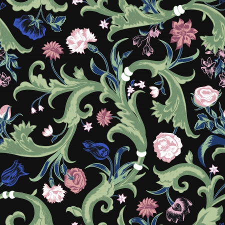 Seamless vector dark vintage floral pattern in baroque style. Swirls and roses, carnations, tulips on a black background. Imitation tapestry. Vector