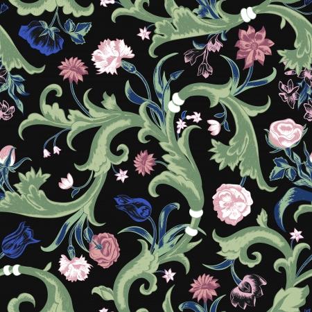 claveles: Seamless vector patr�n de cosecha de flores oscuro en estilo barroco. Remolinos y rosas, claveles, tulipanes en un fondo negro. Tapicer�a de imitaci�n.