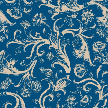 Seamless vector dark vintage floral pattern in baroque style. Beige swirls and roses, carnations, tulips on a blue background. Vector