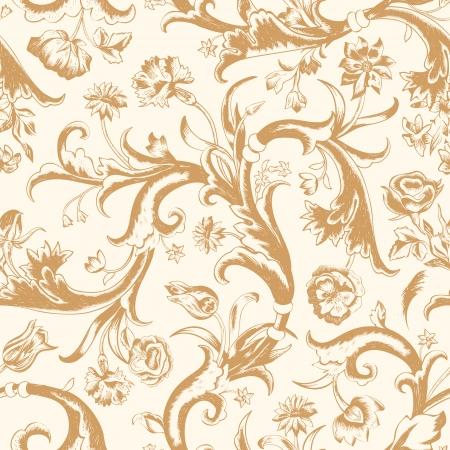 claveles: Seamless vector patr�n de cosecha de flores oscuro en estilo barroco. Brown y remolinos rosas, claveles, tulipanes sobre un fondo beige.