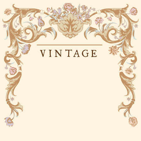 Classic Vintage vector with baroque frame. Vector