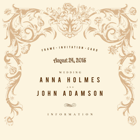 Classic vintage wedding card vector baroque. Vector