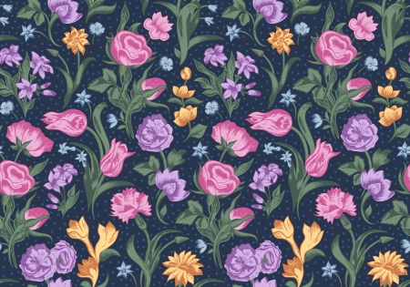 Bright vector seamless vintage floral pattern. Pink, purple and brown colors of roses, carnations, tulips on a black background with polka dots. Иллюстрация