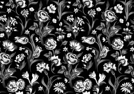 Elegant dark vector seamless vintage floral pattern. White flowers of roses, carnations, tulips, with gray stems and leaves on a black background.