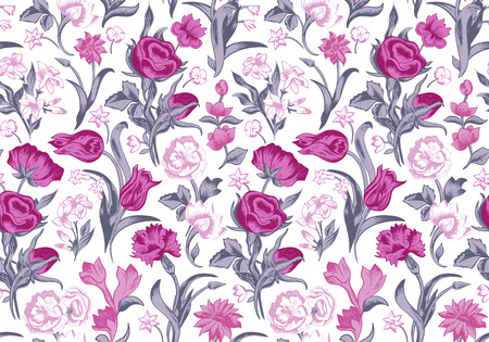 Light romantic seamless vector vintage floral pattern. Pink and gray flowers roses, carnations, tulips on a white background. Vector
