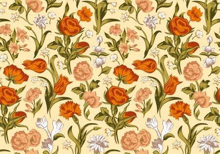 rosas naranjas: Romántico sin fisuras vector patrón de luz floral de la vendimia. Flores rojas, anaranjadas y blancas rosas, claveles, tulipanes sobre un fondo color beige. Vectores