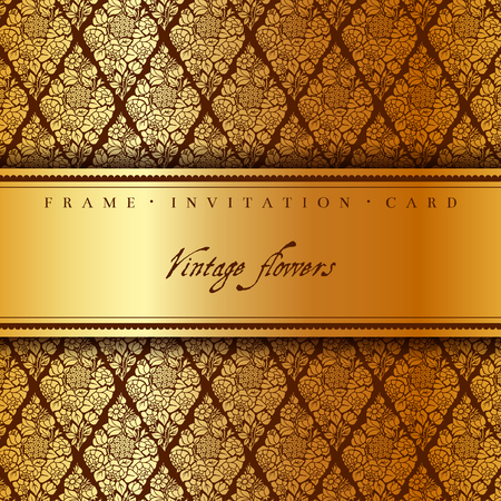 Luxury card with a brown and gold vintage background of stylized bouquets of flowers, roses, hydrangeas, anemones. Vector