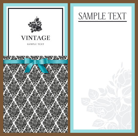 Stylish elegant invitations with a vintage black and white patterns of flowers and mint bow. Vector