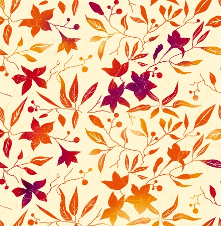 Vector autumn background with bright orange, red leaves and flowers on a beige background. Illustration
