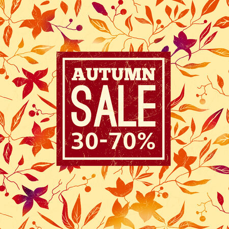 Autumn sale. Vector background with bright orange, red leaves and flowers on a beige background.