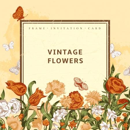 Vettore di nozze vintage con fiori e farfalle. Fiori rossi e bianchi, rose, tulipani e garofani su uno sfondo beige chiaro. Archivio Fotografico - 24857987