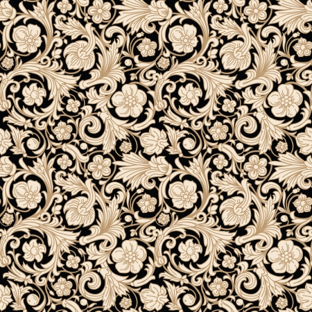 Vintage classic ornamental seamless vector pattern in baroque style. Stylized beige flowers, curls and leaves with a gold outline on a black background. Renaissance. Illustration