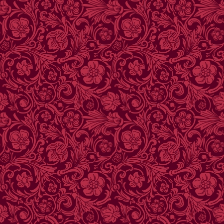 claret red: Vintage classic ornamental seamless vector pattern in baroque style. Silhouettes of stylized flowers and leaves in burgundy berry color. Renaissance.