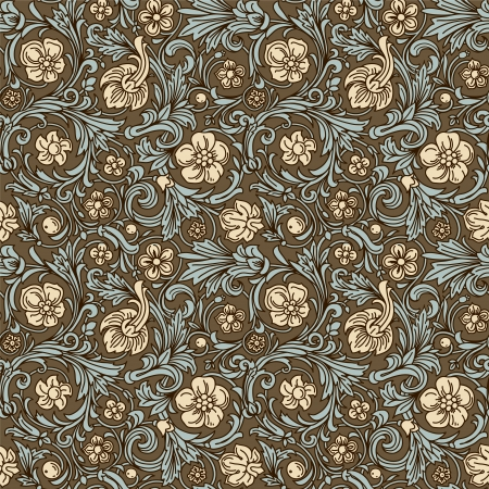 Vintage classic ornamental seamless vector pattern in baroque style. Stylized beige flowers and emerald leaves with a dark brown outline on a brown background.