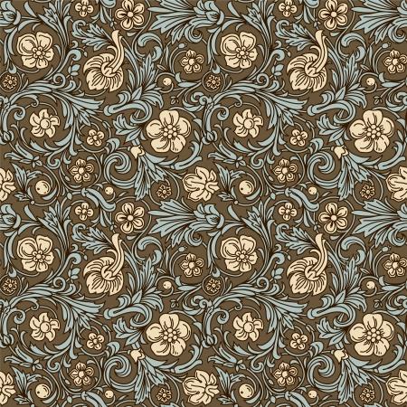 Vintage klassieke sier naadloze vector patroon in barokke stijl. Gestileerde beige bloemen en smaragdgroene bladeren met een donkerbruine schets op een bruine achtergrond.