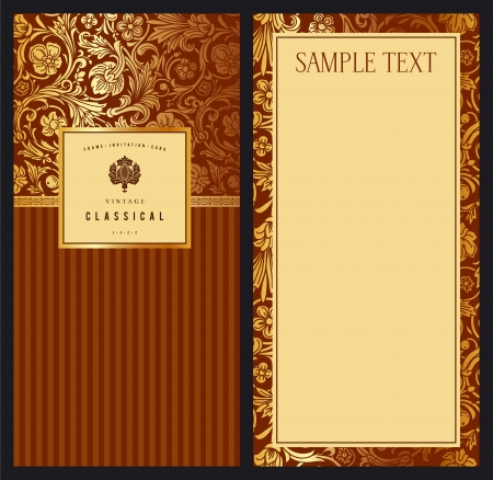 Set of vintage vector vertical invitation with gold baroque pattern Stylized flowers and leaves on a red-brown background Vektoros illusztráció