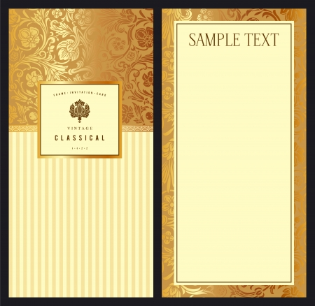 Set of vintage vector vertical invitation with gold baroque pattern  Stylized flowers and leaves on a beige background