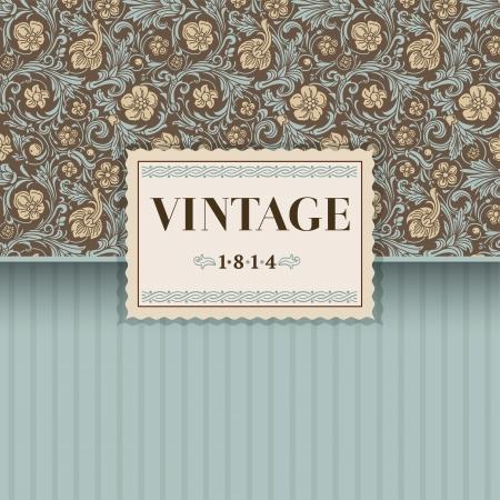 beige stof: Vintage vector achtergrond in de klassieke barokke stijl Gestileerde beige bloemen met smaragd groene wervelingen en bladeren op een bruine achtergrond Renaissance Stock Illustratie