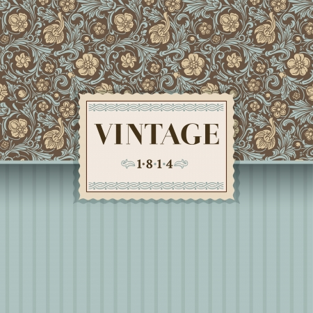 Vintage vector background in classical baroque style  Stylized beige flowers with emerald green swirls and leaves on a brown background  Renaissance