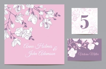 and invites: Set backgrounds to celebrate the wedding  Invitation card, table number, guest card  Vector illustration  Vintage pink with a purple background with a branch of magnolia blossoms