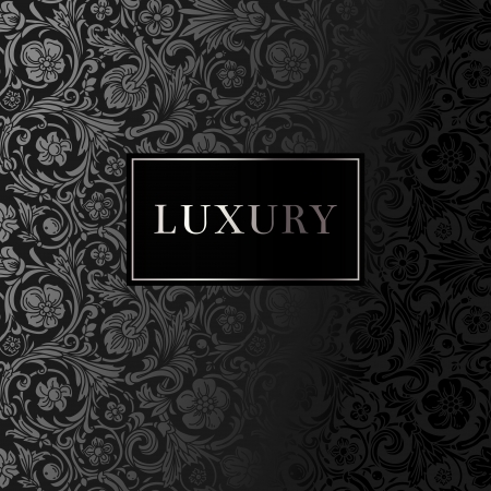A luxury vintage vector card  Black background with beautiful ornaments and silver frame