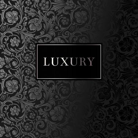Uno sfondo nero vettore carta d'epoca di lusso con bellissimi ornamenti e cornice d'argento
