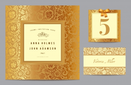 Set polygraphy to celebrate the wedding  Invitation card, table number, guest card  Vintage set with gold ornament in baroque style  Vector illustration