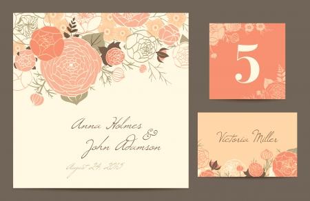 婚禮: 設置印刷業慶祝上的米色背景的珊瑚玫瑰,毛茛和康乃馨的婚禮請柬,桌號,客人卡矢量插圖現代成分