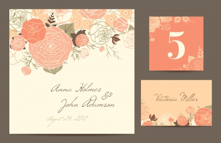 coral: Set polygraphy to celebrate the wedding  Invitation card, table number, guest card  Vector illustration  Modern composition of coral roses, buttercups and carnations on a beige background