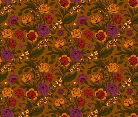 regency: Colorful seamless pattern with a vintage flower bouquets carnations and chrysanthemums