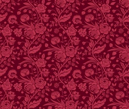 Claret naadloze patroon met een vintage boeketten anjers en chrysanten