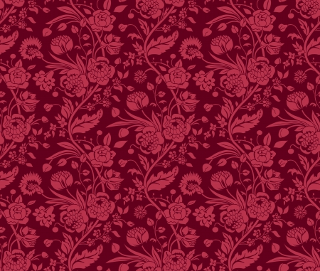 Claret seamless pattern with a vintage flower bouquets carnations and chrysanthemums Иллюстрация