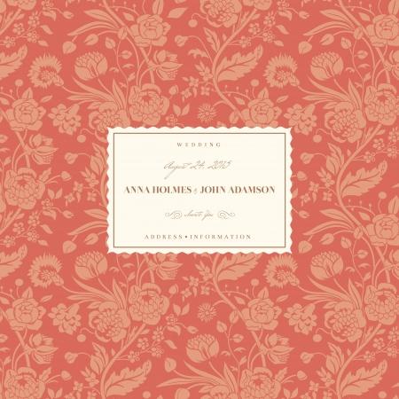 anniversario matrimonio: Carta di nozze Corallo con epoca di fiori Bouquet garofani e crisantemi Vettoriali