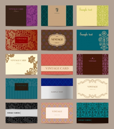 fifteen: Set of vintage business cards. Fifteen pieces. Size 85 x 55 mm Illustration