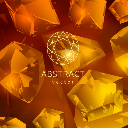 topaz: Abstract yellow-orange background with glowing gems, topaz and quartz.