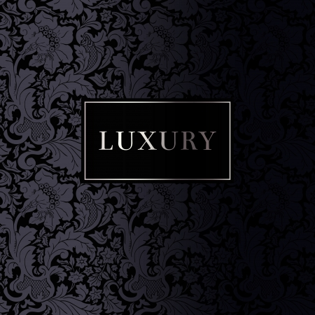 Vintage luxury background with baroque stylized flowers. Black with Silver