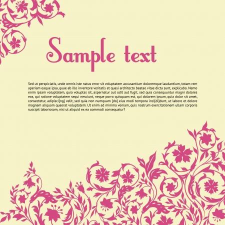 decorative elements: Floral postcard with decorative elements