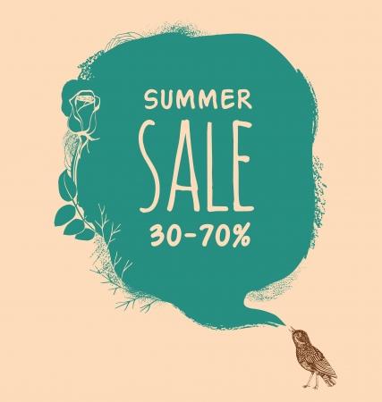 bird nightingale: Background to the nightingale and blot. Summer sale Illustration