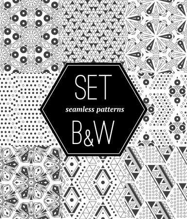 シームレスな白黒パターンのセット  イラスト・ベクター素材