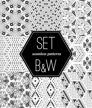 decorative pattern: A set of seamless monochrome pattern