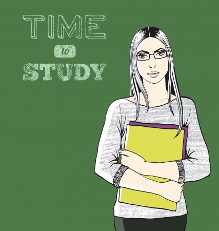 Une étudiante à l'arrière-plan noir