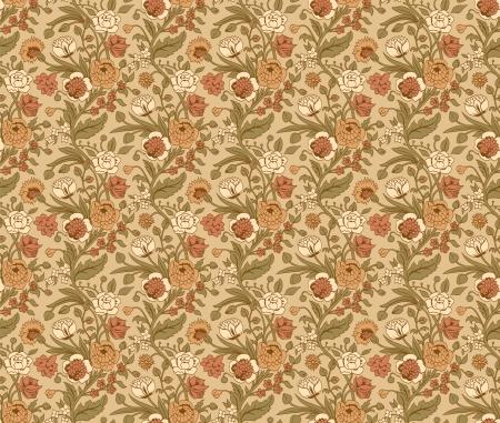 claveles: Patr�n beige transparente con unos ramos de flores de �poca claveles y crisantemos