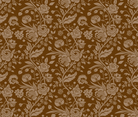regency: Brown seamless pattern with a vintage flower bouquets carnations and chrysanthemums