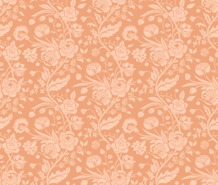 solemn: Pastel seamless pattern with a vintage flower bouquets carnations and chrysanthemums