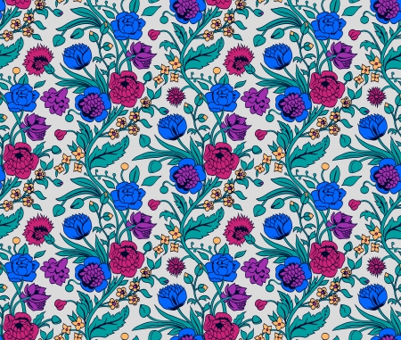 indigo: Colorful seamless pattern with a vintage flower bouquets carnations and chrysanthemums